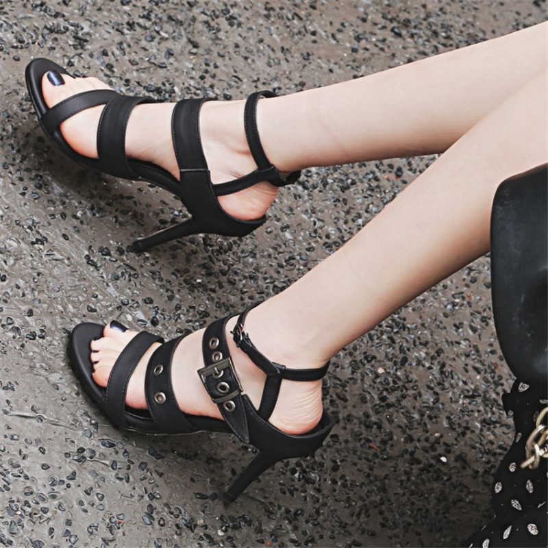 Plus Size 33-43 New Women Sandals Square Thin Heel Summer Ankle Strap Woman Shoes red Ladies Fashion Gladiator Party Pumps shoes size 30 43 woman ankle strap high heel sandals new arrival hot sale fashion office summer women casual women shoes p19266