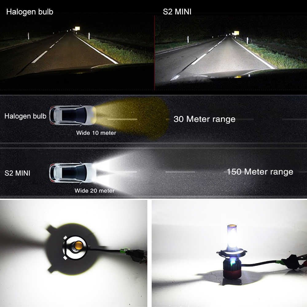 BraveWay Led Light for Auto H4 9005 9006 HB3 HB4 Small Size Led Bulbs for Cars H4 Headlight Auto Led Lamp H4 LED Headlamp