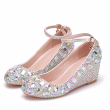 Brand Shoes Woman Elegant Shining Rhinestone Wedding 2019 New Summer Fashion Wedge Comfort Women High XY-A0166