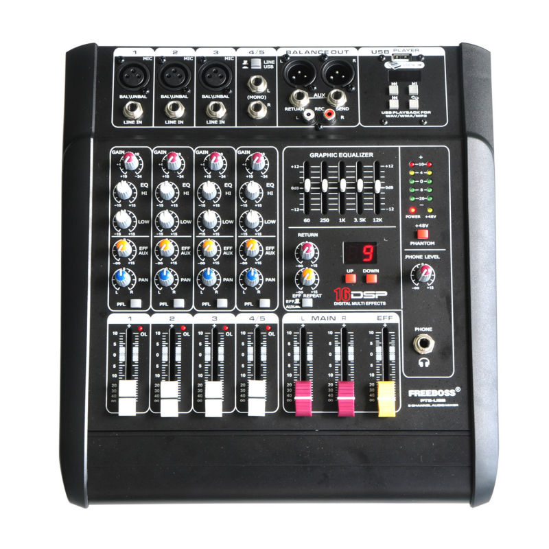 Freeboss PT5-USB 5Mono Channels 16 DSP Effects 2*250W Professional USB Powered Audio Mixer Console цена