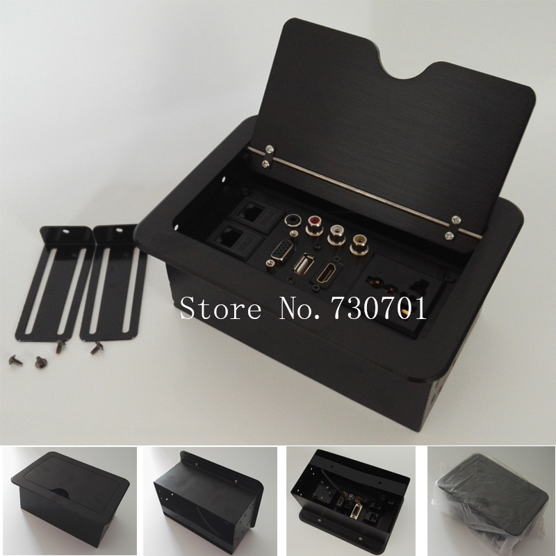 цена на 2018 Desktop Hidden Lan Outlet lipe Up For Conference system livolo usb vga audio socket tafe Sliding socketl