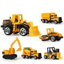6 Estilos mini Diecast Liga Veículo de Construção Engenharia Caminhão Dump-carro Modelo Do Carro brinquedos carros para crianças menino presente