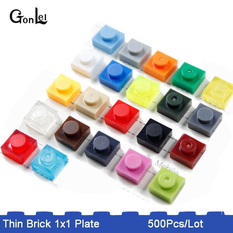 500 Placa pçs/lote 1x1 Parte LOGO DIY Brinquedo Blocos de Construção Para Crianças 28 Cores Criativo Educacional Compatível com 3024