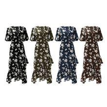 Womens Half Batwing Sleeve Chiffon Maxi Dress Boho Floral Printed Cross Wrap V-Neck Belted High Waist Ruffles Hem Asymmetric Swi