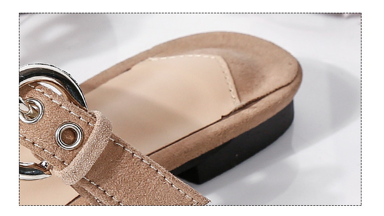 Fletiter Buckle Women Flat Mules Shoes Pointed Toe Slides Sandals ... ccdae335ceb1