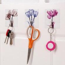 3 шт. творческий цветочный узор самоклеющиеся стены двери крюк вешалка сумка ключи Ванная комната Кухня липкий держатель