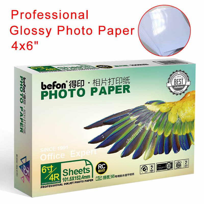 Befon 4X6 4R 6 Inci Berkilau Foto Kertas 50 Lembar 240gms Pencetak Inkjet Pencetakan Foto Kertas Kertas Foto kualitas Tinggi
