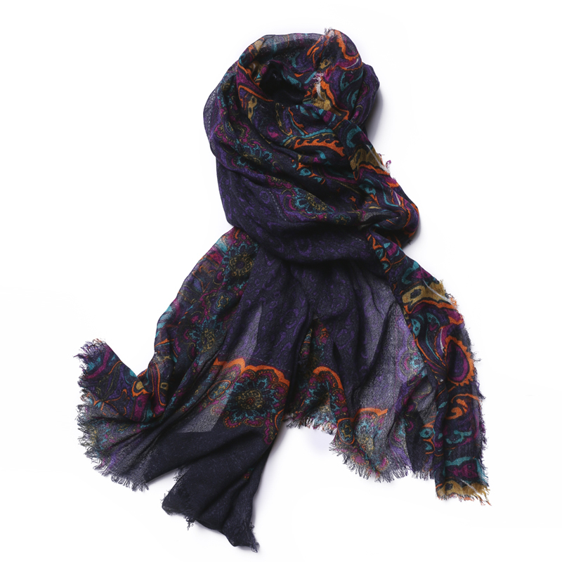 100%lambswool women fashion print big scarf shawl pashmina 75x200cm retail wholesable