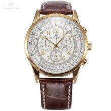 Ks Aviator Relogio Masculino Fashion Wrap cadeau calendrier automatique mécanique hommes marron cuir bande décontracté luxe montre/KS161