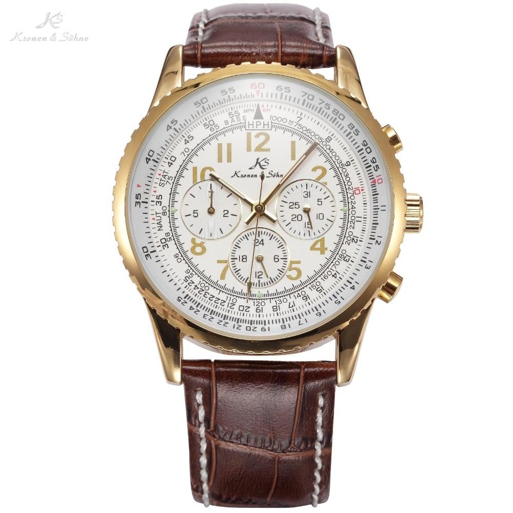 92d0255a95895 Ks aviador relógio masculino moda presente calendário automático mecânico  pulseira de couro ocasional relógios de luxo ks161 em Relógios mecânicos de  ...