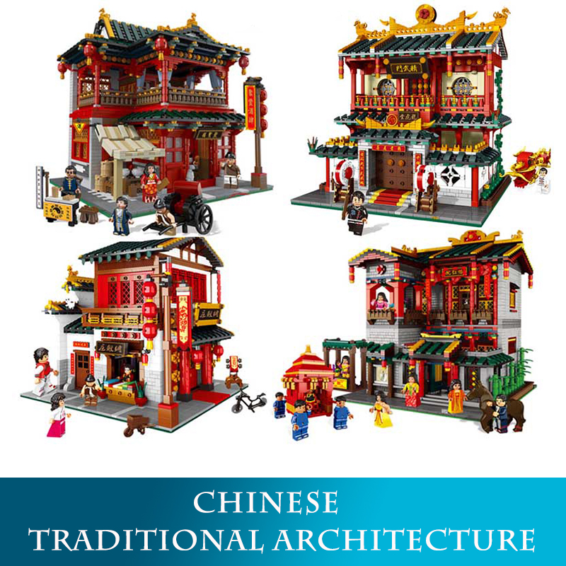 01001-01004 2000pcs+ Chinese Traditional Architecture Model Building Blocks Martial Arts LegoINGLYs Bricks Toys wood in traditional architecture