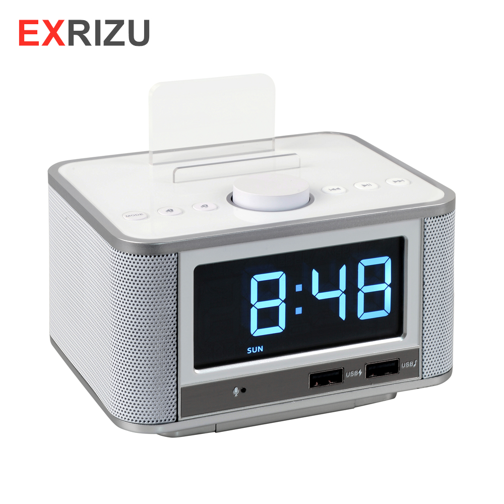 EXRIZU 10W Bluetooth 4.2 Smart Clock Speaker Support FM Digital Radio Hands free U Disk TF Card Music Play 3.5inch Screen Snooze - 2