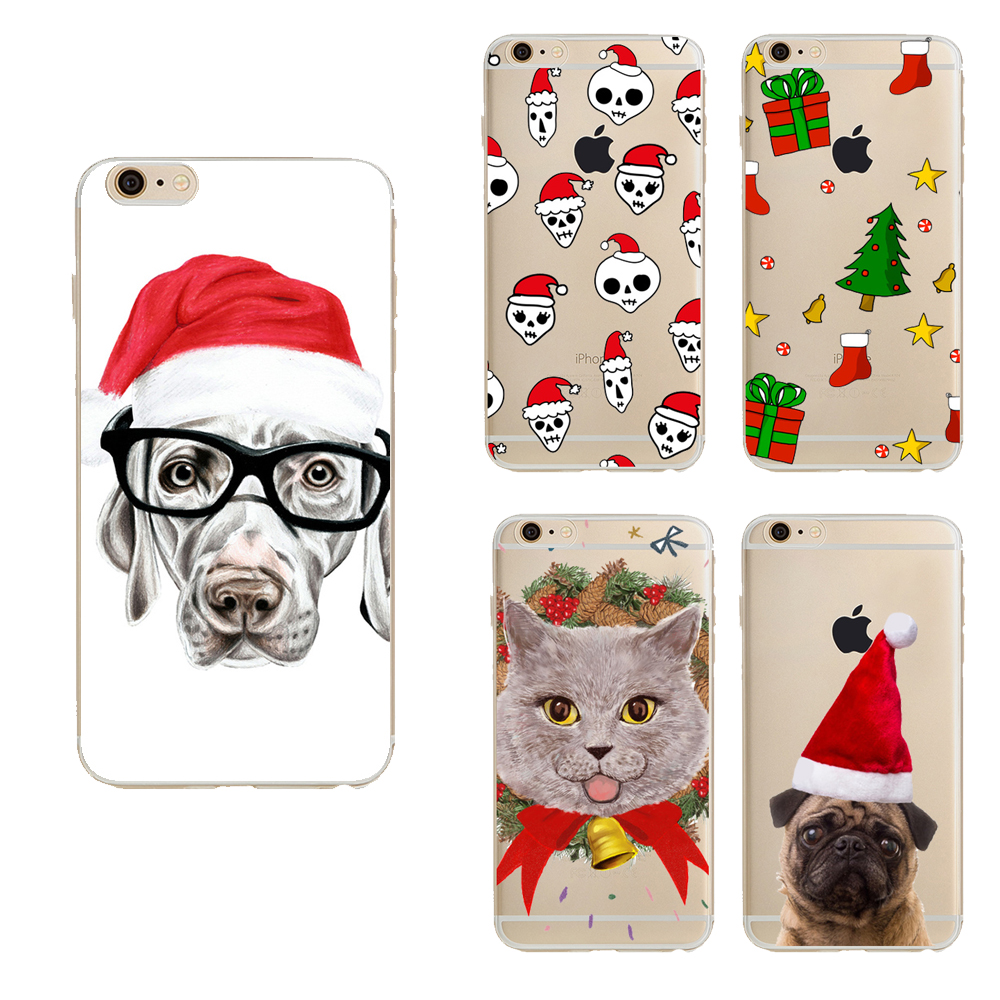 Merry Christmas cases For Iphone 6s case back cover clear lovely ...