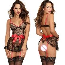 Nova moda das Mulheres Sexy Lingerie de Renda Preta lingerie sexy G-string Garter Belt