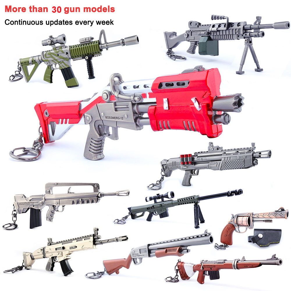 Vente chaude Quinze Jours Jeu Accessoires QUINZAINE Battle Royale Jouets Enfants Action Figure Métal Gun Arme Modèle Fort Nuit Keychain