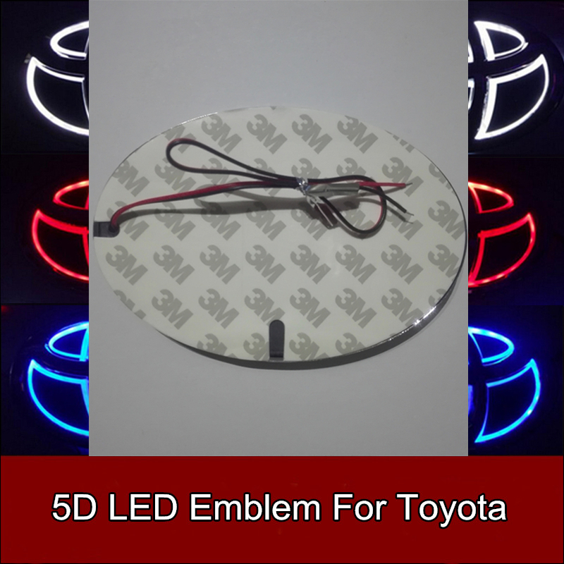 5D Led Rear Emblem Logo Light Car Badge Bulb for Toyota RAV4 Prado Reiz Corolla Crown Vios Wish Highlander Land cruiser Ez new arrival 4d car led logo light led cold light logo decoration emblem bulb led badge lamp for renault koleos megane latitude