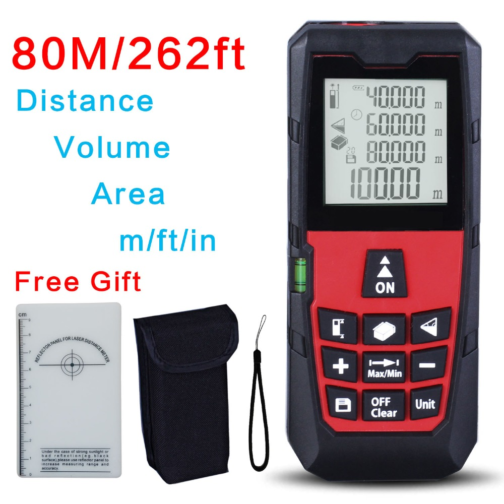Free Shipping Red 80M/262ft High Precision Handheld Rangefinder Laser distance meter Tape Measure Area/Volume Range Finder dmiotech 262ft 80m mini handheld digital laser distance meter rangefinder red with tripod