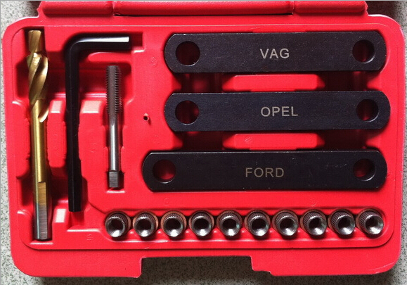 16pc Car Repair Tools Brake Caliper Guide Thread Repair Kit Set For VAG Opel Ford Audi
