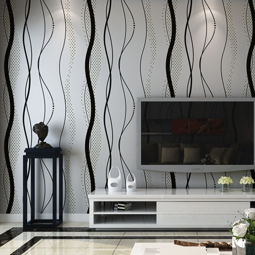 Stripes Wallpaper Non-woven Modern Bedroom TV Background Wall Paper 3D Curve Striped Black Home Decor modern non woven wall paper home decor background wall damask wallpapers top quality floral wallcovering 3d hd wallpaper bedroom