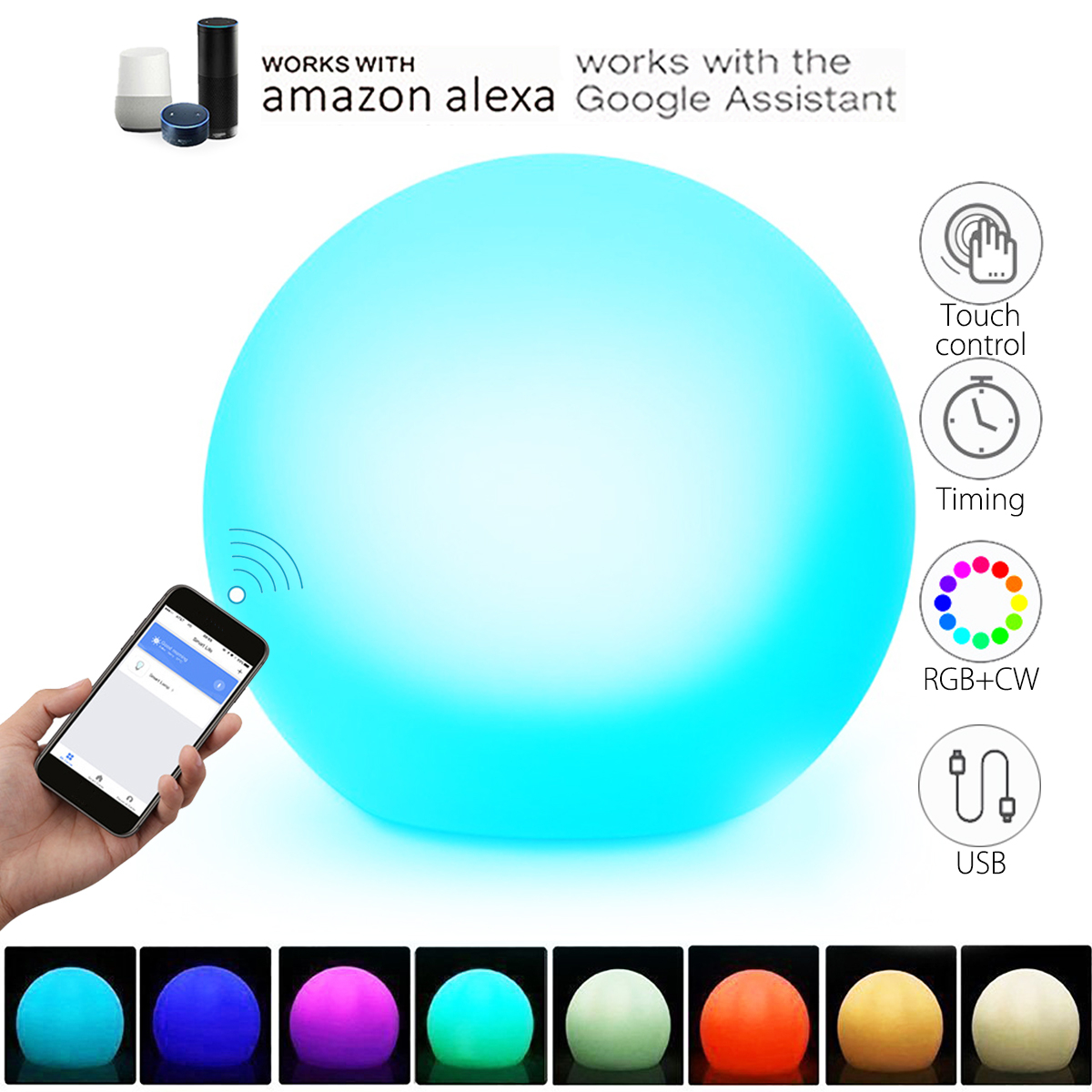 Smuxi Night Light 10 Colors Change Touch Control WIFI Smart Table Desk Atmosphere APP Control For Alexa GOOGLE HOME