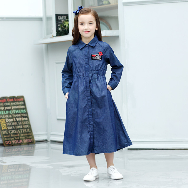 Little Girls Denim Maxi Dress Long Sleeve Pocket Embroidery Spring Clothing 5 6 7 8 9 10 11 12 13 14 15 years Teen Girl Outfit