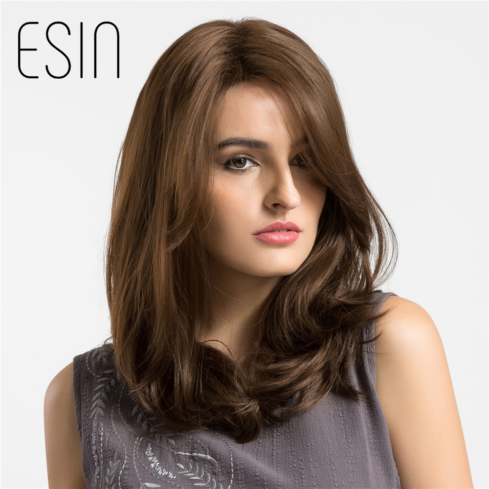 Esin 16 Inch Natural Wave Side Parting Shoulder Length Long Wig Light Brown Synthetic Wigs with Bangs For Women Free Shipping