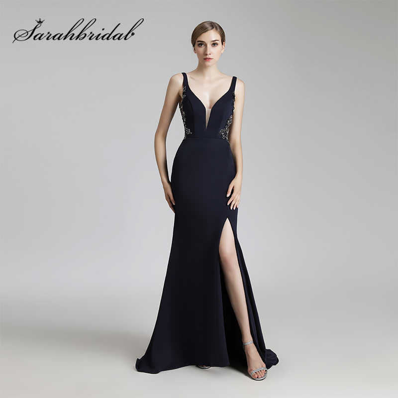 1424938982e7f 2017 Vintage Navy Blue Long Mermaid Evening Dresses Sexy V-Neck Side Slit  Formal Prom Party Gowns Backless Gala Dress OL465
