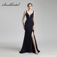 2017 Vintage Navy Blue Long Mermaid Evening Dresses Sexy V Neck Side Slit Formal Prom Party Gowns Backless Gala Dress OL465
