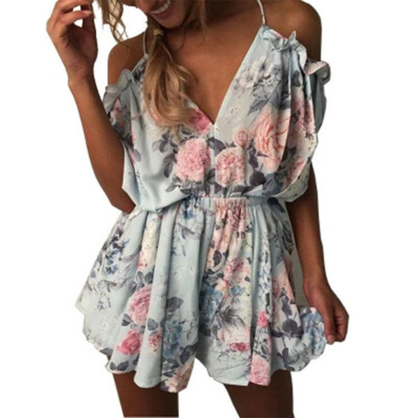 4c0aa885718 Summer Sexy V-neck Off The Shoulder Ruffles Bodysuit Open Back Women Romper  Loose Casual Lacing Floral Short Jumpsuit