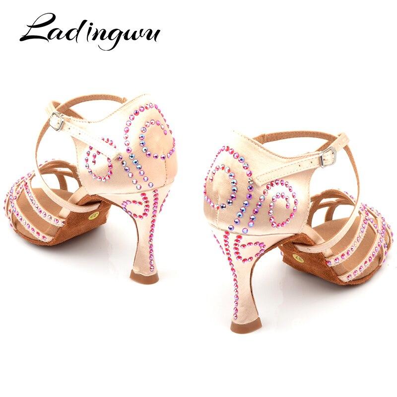 Ladingwu Nouvelle mise à jour Soie Satin Chaussures de Danse Latine Femmes de Couleur Strass Salle de Bal Salsa Chaussures de Danse Profession zapatos de muj