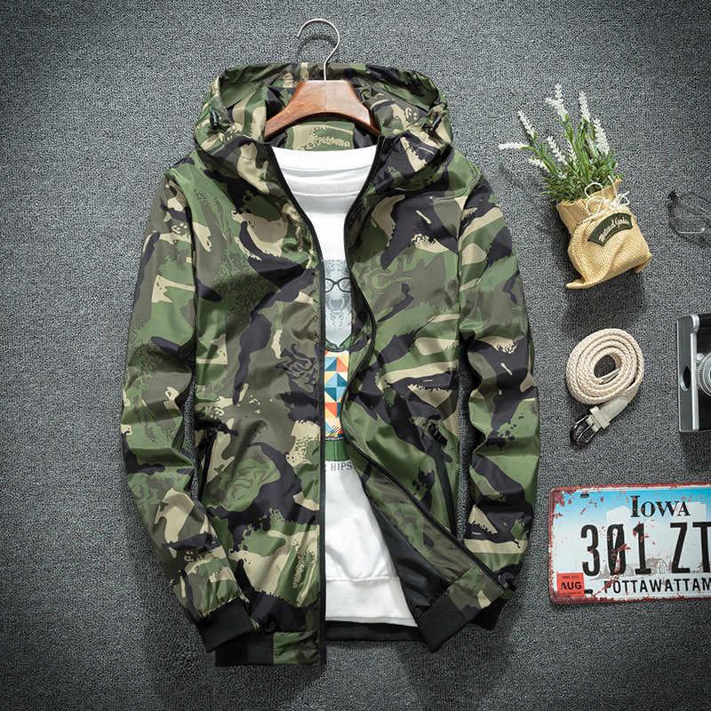 2019 迷彩ジャケット男性スリム迷彩フード付きウインドブレーカージャケットコートミリタリージャケットパーカーファッションストリートアジアサイズ