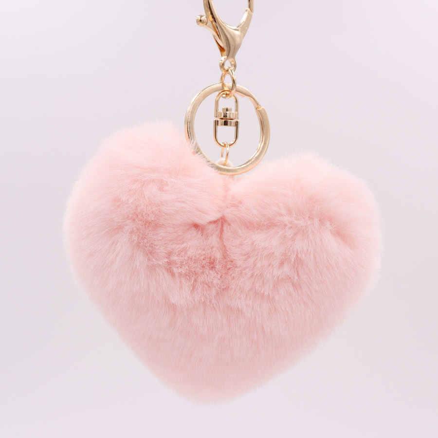 2019 Nova Charme Cristal Imitação Coelho de Pelúcia Brinquedo Animal KeyChain Heart-Shaped Chaveiro Pingente Decorado Com Licor de Brinquedos Animais