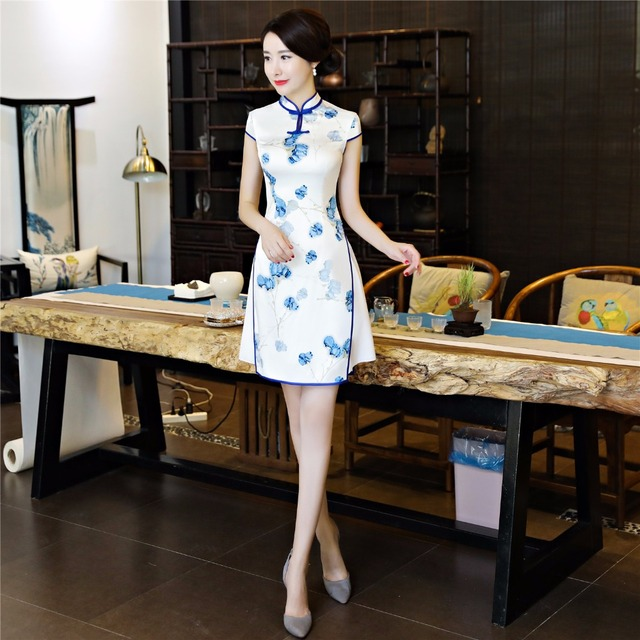 4e0422e4e Shanghai Story Chinese Style Dress Vietnam aodai Chinese traditional dress  Flower Print cheongsam dress Short Qipao Dress