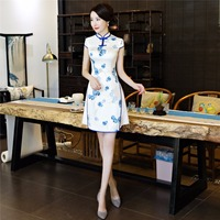 Shanghai Story Chinese Style Dress Vietnam aodai Chinese traditional dress Flower Print cheongsam dress Short Qipao Dress