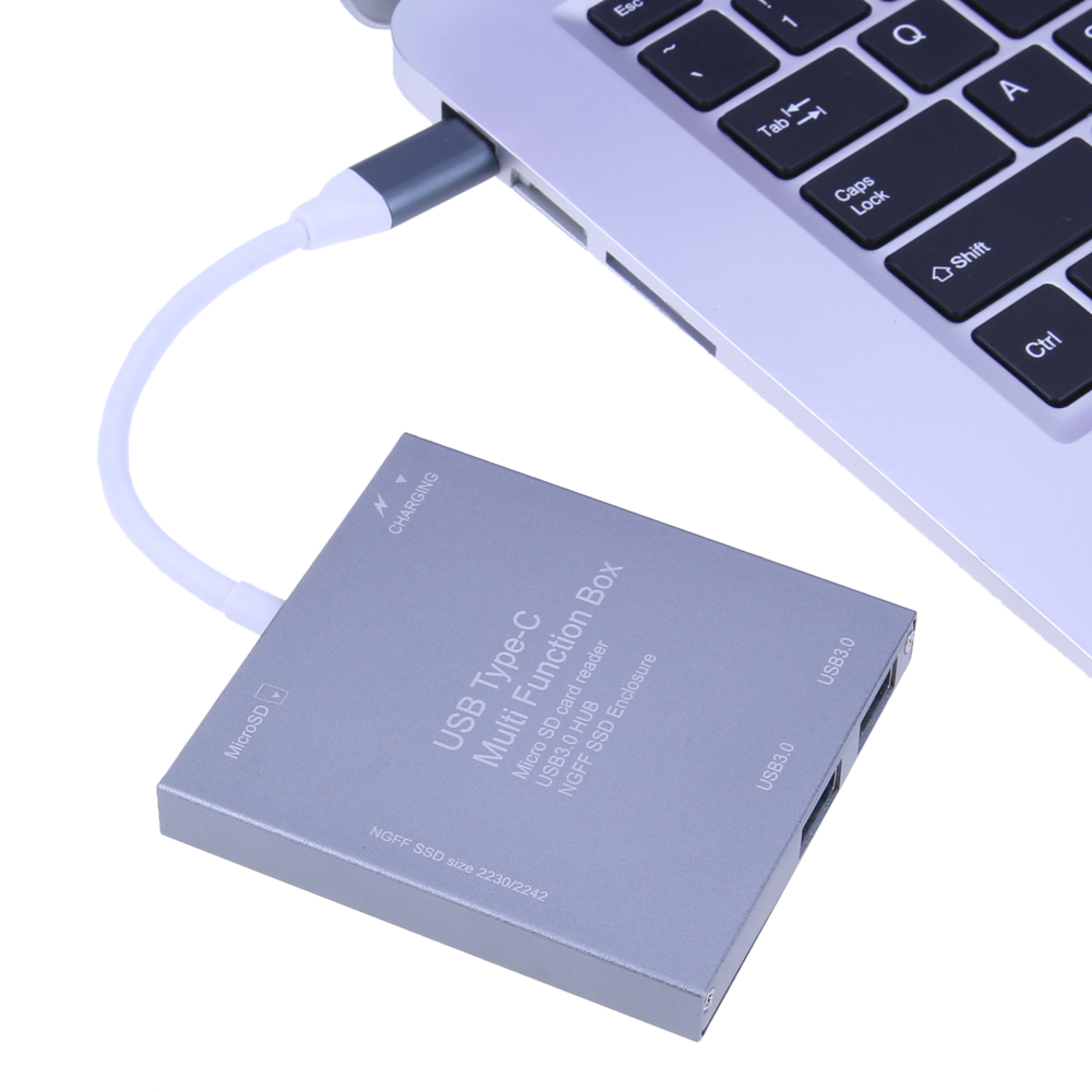 3 in 1 USB 3.0 Type C To M.2 NGFF SSD Enclosure Multi Function SSD adapter charging cord memory card card reader