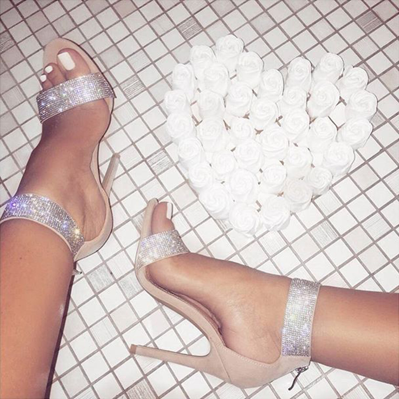 6e76c0c34 Luxury Crystal Heel Sandals Brand Design Sexy Bling Rhinestone High ...
