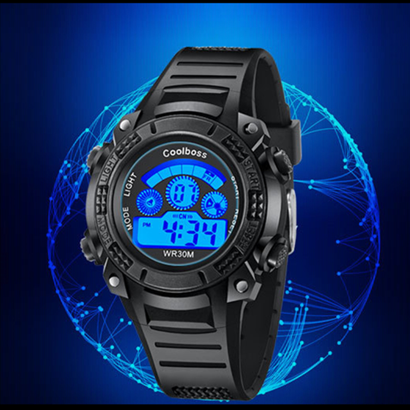 Coolboss Children Wrist Watches Fashion LED Digital Clock Rubber Band Alarm Complete Calendar Baby Boy Watch Filhos Relogio