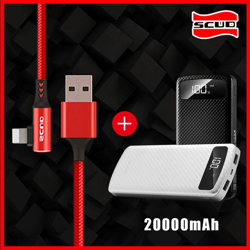 Scud batterie externe 20000 mAh + câble USB avec LED affichage numérique powerbank pour iphone X XS XR 4 s 5 5 s 6 6 s 7 8 plus téléphone léger