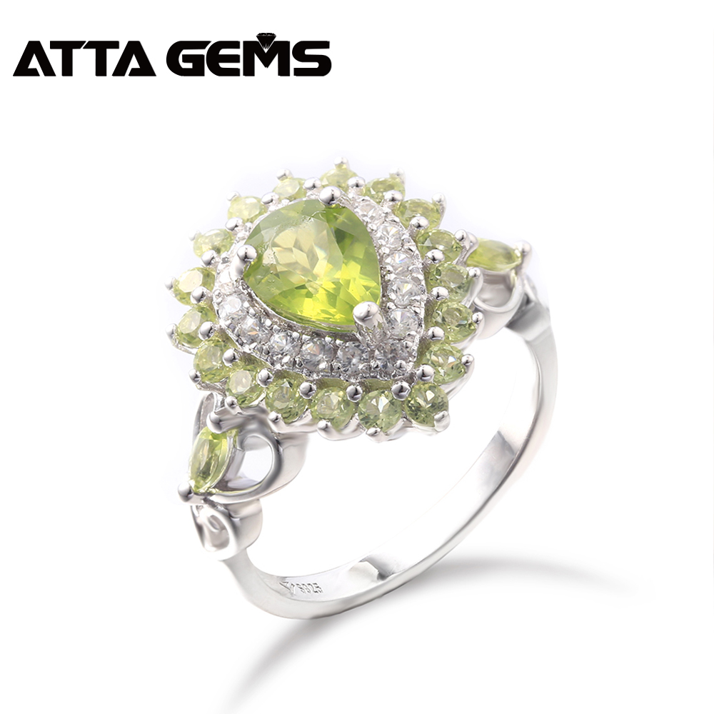 Natural Peridot Sterling Silver Rings for Women 3 Carats Natural Peridot August Birthstone Faced Cut Romantic Style Women Gift  Natural Peridot Sterling Silver Rings for Women 3 Carats Natural Peridot August Birthstone Faced Cut Romantic Style Women Gift