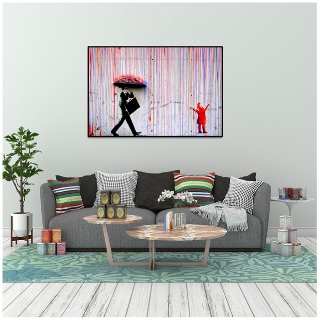 Unframed Banksy Art Colorful Rain Wall Canvas Painting Living Room Decor No Frame