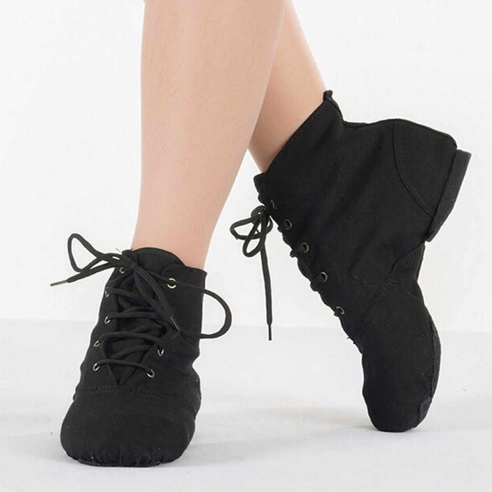 ผู้หญิง Unisex ผ้าใบที่ทันสมัยแจ๊สบัลเล่ต์เต้นรำรองเท้า Lace Up รองเท้าบูทหญิงรองเท้าแตะ Lace up ผ้าใบรองเท้า
