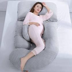 Almohada de embarazo de versión extendida para bebés, cómoda almohada de algodón para mujeres embarazadas, cojín apto para cojines de cintura