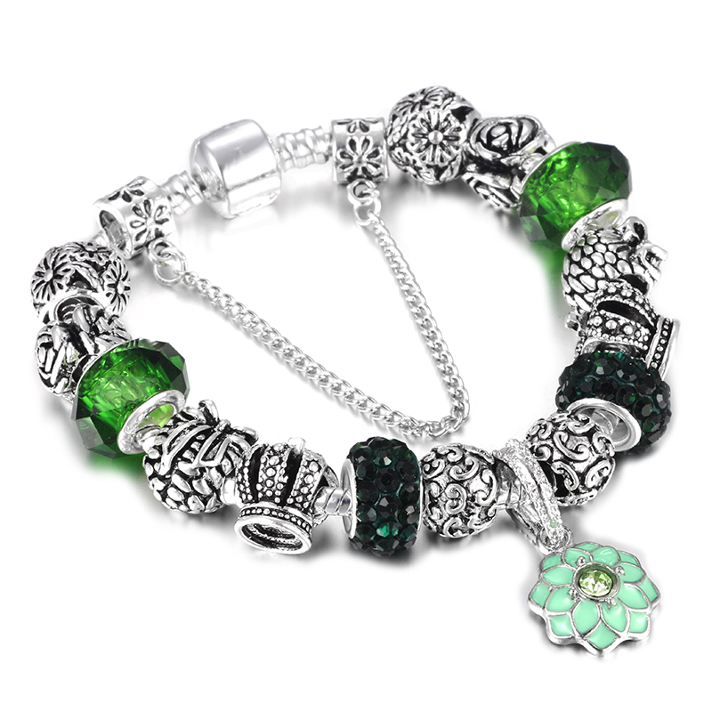 SPINNER Silver plated Charm Bracelet for Women Snake Chain & Murano Glass Beads Brand Bracelet Authentic Jewelry
