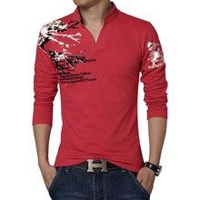 2017 Новая Мода Печатных мужская Polo Рубашки Повседневные с V-образным Вырезом С Длинным Рукавом хлопок Polo Мужчины Марка Slim Fit Camisa Polo Футболки 3XL 4XL