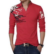 2017 New Fashion Printed Men's Polo Shirt Casual V-Neck Long Sleeve Cotton Polo Men Brand Slim Fit Camisa Polo Shirts 3XL 4XL