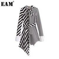 EAM 2018 New Spring Lapel Long Sleeve Solid Color Black White Striped Irregular Split Joint