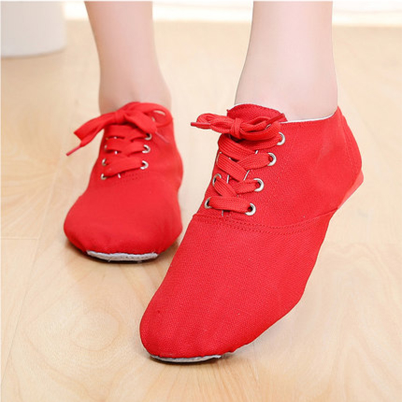 6-Color Girls Jazz Shoes Canvas Fitness Ballet Dancing Shoes Comfortable Breathable Children Adult Low Dance Shoes Slippers 10