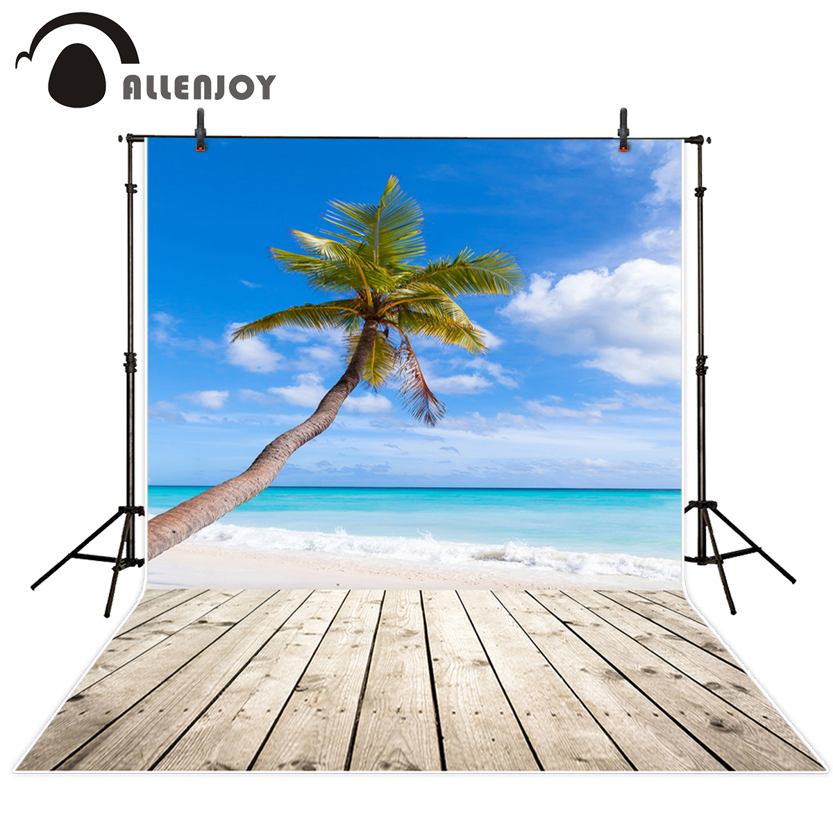 Allenjoy Beach Blue Sky vinyl backdrops for photography Coconut Tree summer background for photo studio props photographer