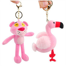Cute Pink Panther Flamingos Plush Keychain Toys Small Cartoon Animals Key Bag Pendants Toys Dolls 10pcs/lot(China)