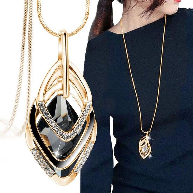Nuova moda europea e Americana Golden Hollow Geometrica Big Pietra collana Pendente di Cristallo Gioielli per le donne personalità
